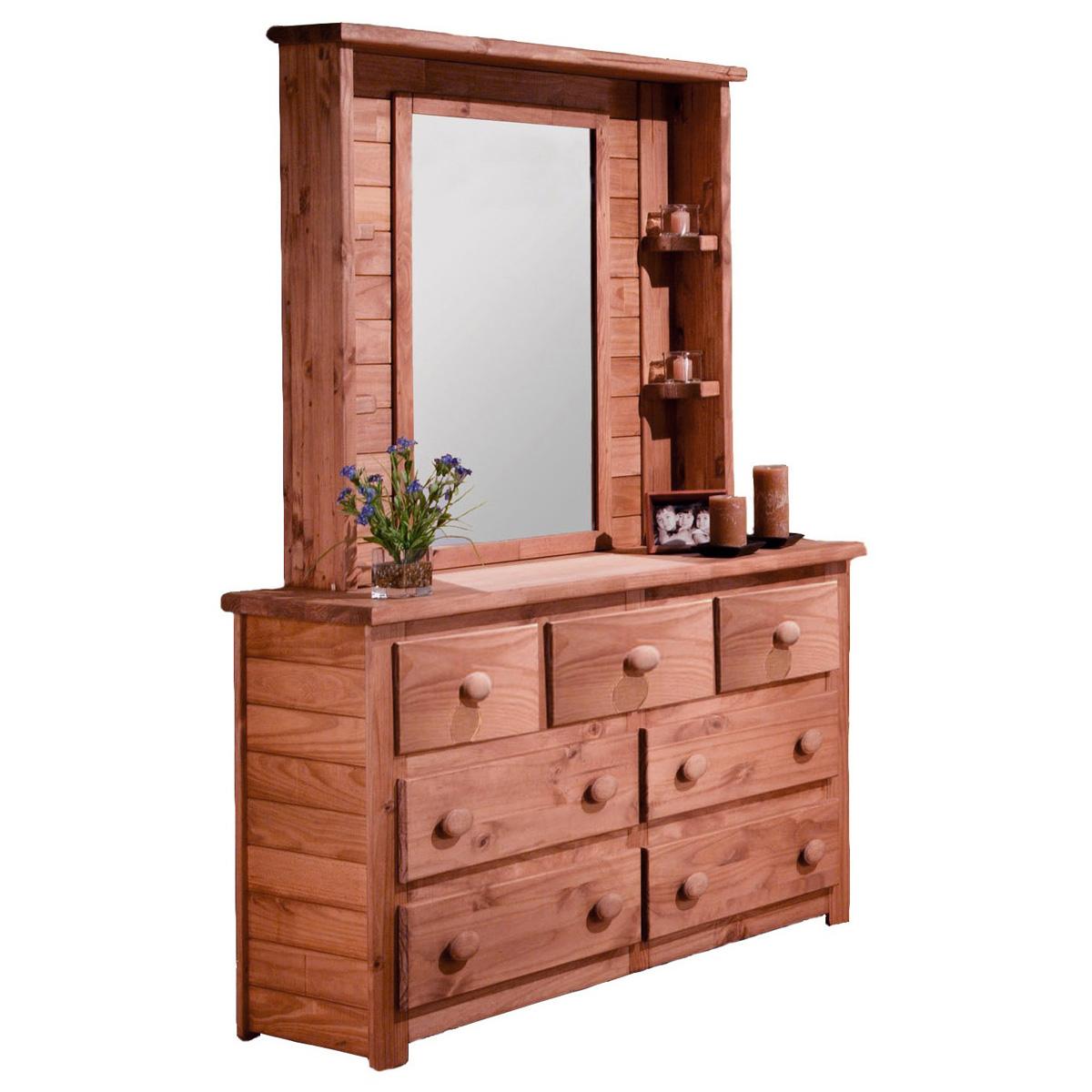 7 Drawer Dresser Amp Mirror Hutch Bead Board Mahogany