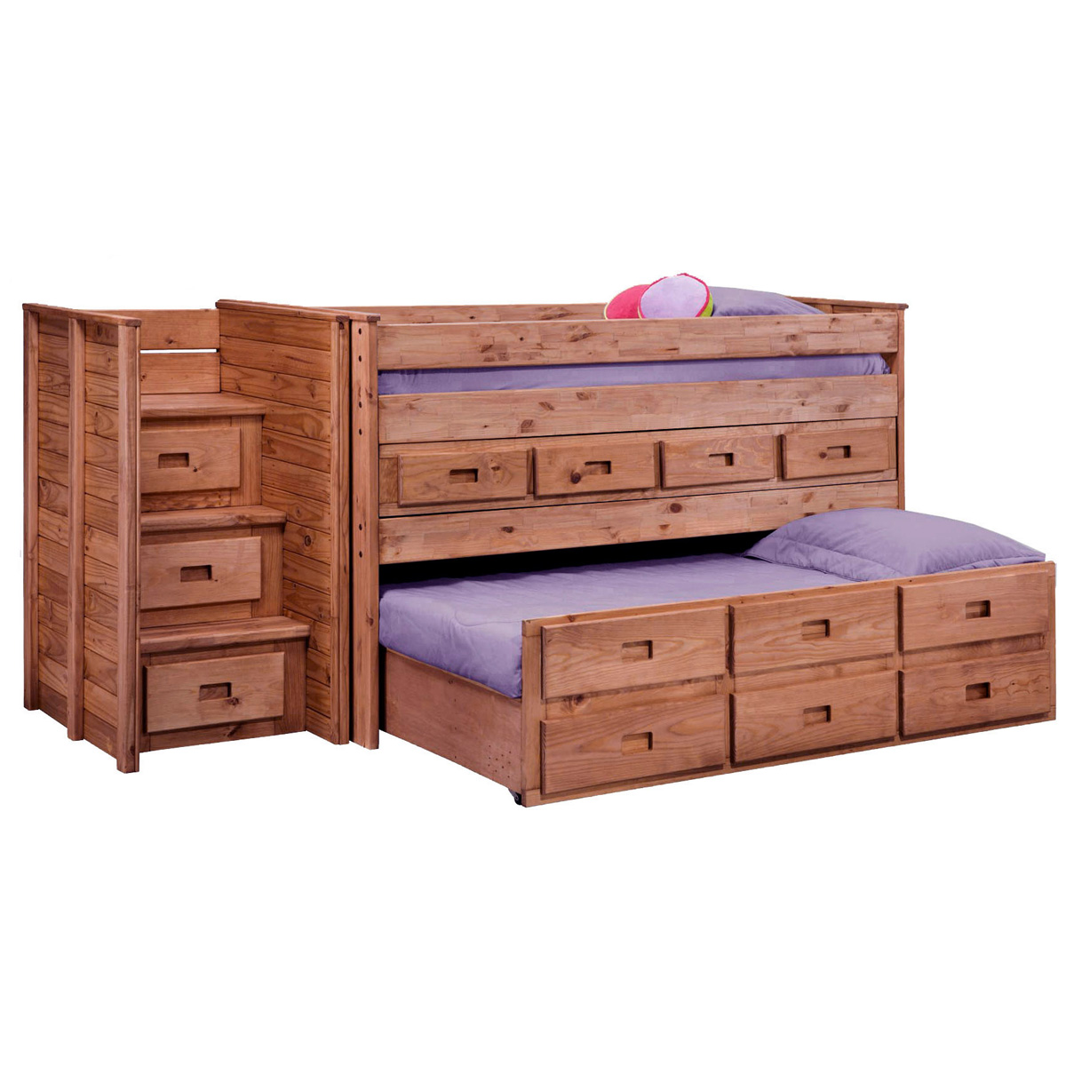 Twin loft bed staircase drawers trundle mahogany for Loft bed with trundle