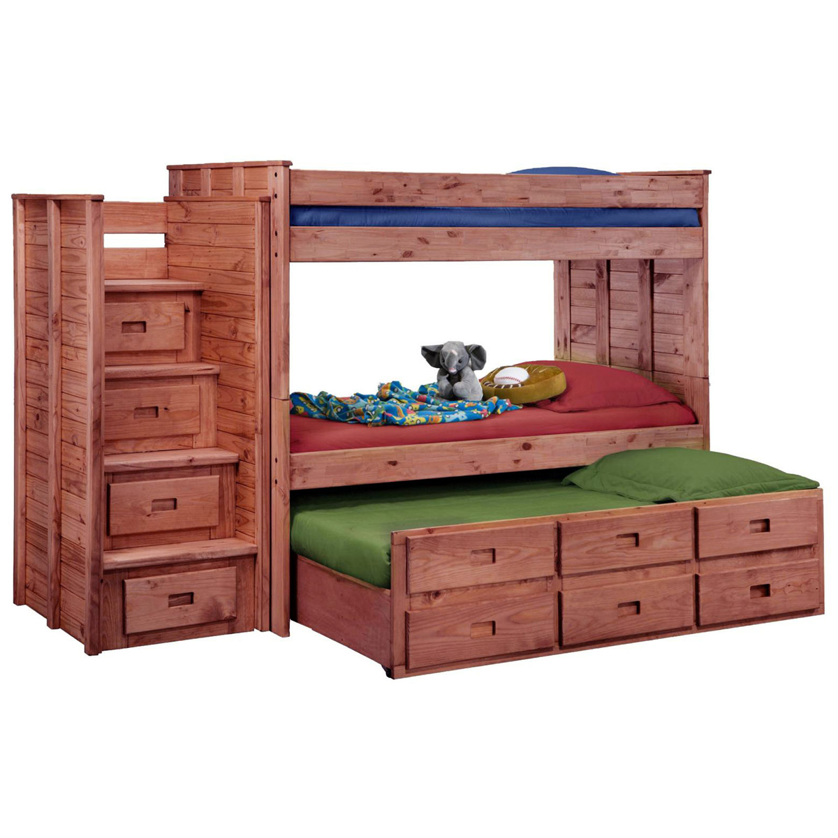 Twin Bunk Bed Staircase Drawers Trundle Mahogany Finish DCG