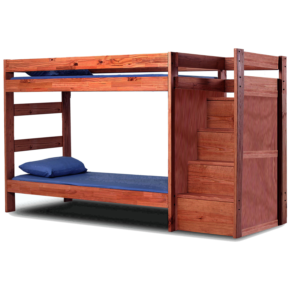 Twin Bunk Bed - Staircase, Mahogany Finish - CHF-31123