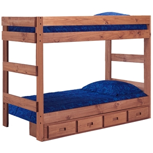 Twin Over Twin Bunk Bed - Under Bed Storage, Mahogany Finish