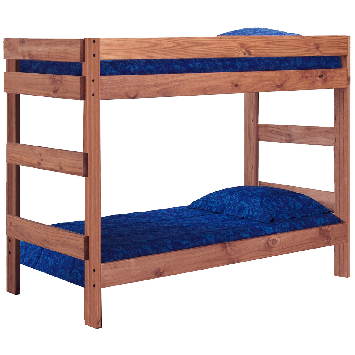 Twin over twin bunk bed mahogany finish dcg stores for Furniture 411