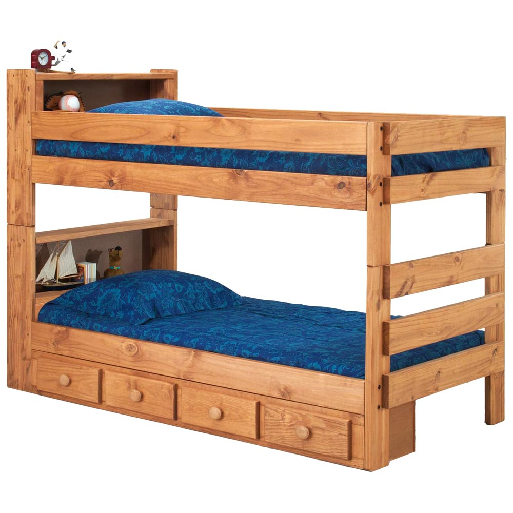 Twin bunk bed bookcase headboards drawers mahogany for Bookshelf bed headboard