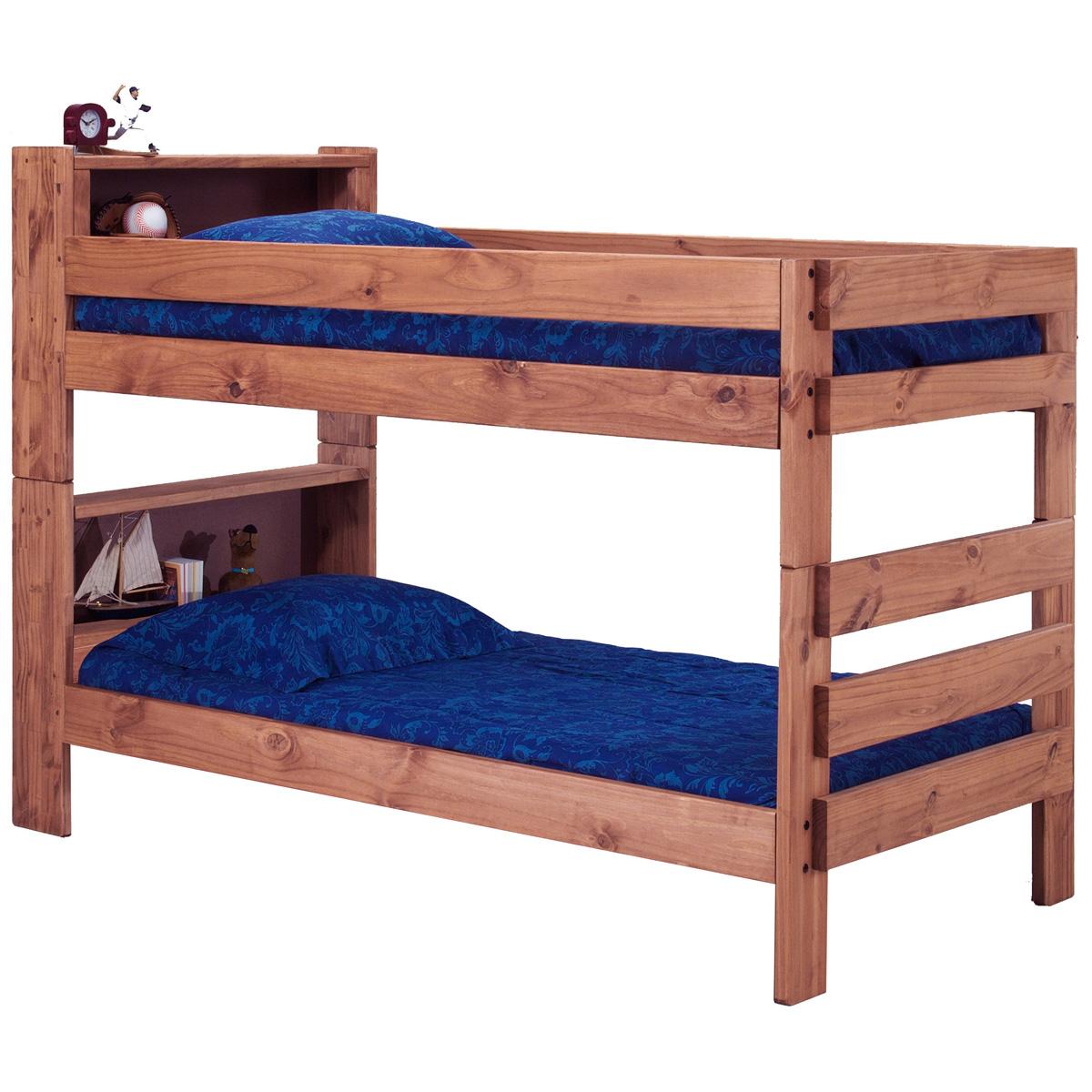 Twin Bunk Bed Bookcase Headboards Mahogany Finish Dcg
