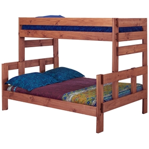 Twin Over Full Wooden Bunk Bed - Mahogany Finish