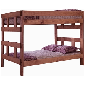 Full Over Full Wooden Bunk Bed - Mahogany Finish
