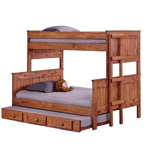 Twin Over Full Stackable Bunk Bed Trundle Ladder Mahogany DCG