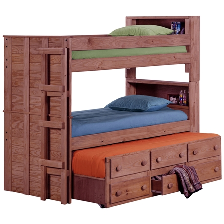 Twin Bunk Bed Bookcase Headboards Trundle Mahogany Finish DCG