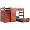 Twin Loft Bedroom Set - Staircase, 5-Drawer Chest, Mahogany - CHF-31234