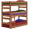 Twin Triple Bunk Bed - Built-In Ladders, Mahogany Finish