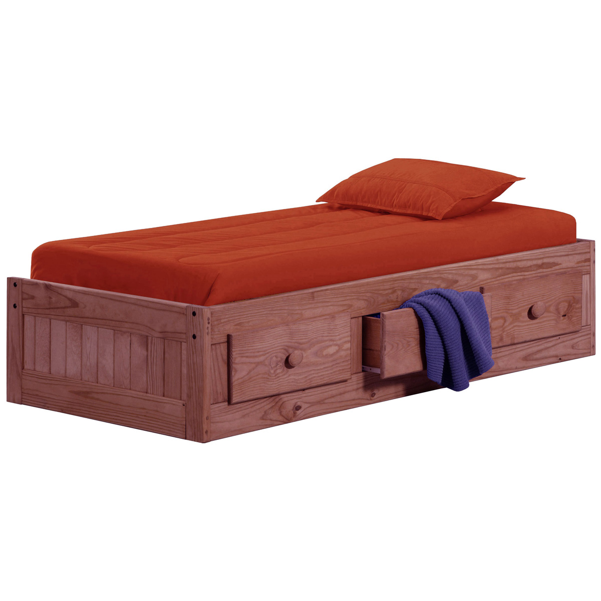 Twin Box Bed Under Bed Storage Mahogany Finish Dcg Stores