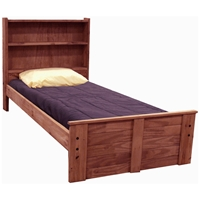 Twin Bed - Bookcase Headboard, Mahogany Finish
