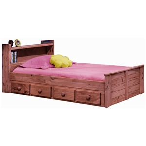 Twin Bed - Bookcase Headboard, Drawers, Mahogany Finish