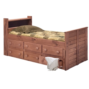 Twin Captains Bed - Bookcase Headboard, Mahogany Finish