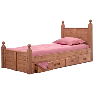 Twin Panel Post Bed - Under Bed Storage, Mahogany Finish