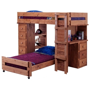 Twin Loft Bedroom Set - Chest, Desk, Mahogany Finish