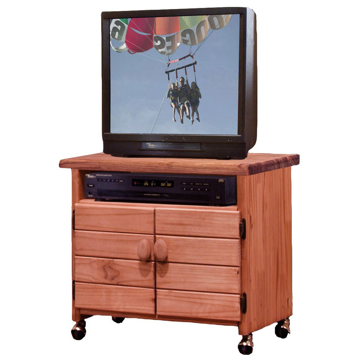 Wooden 2 Door Tv Cart Casters Mahogany Finish Dcg Stores