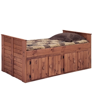 Twin Panel Bed - 4-Door Storage, Mahogany Finish