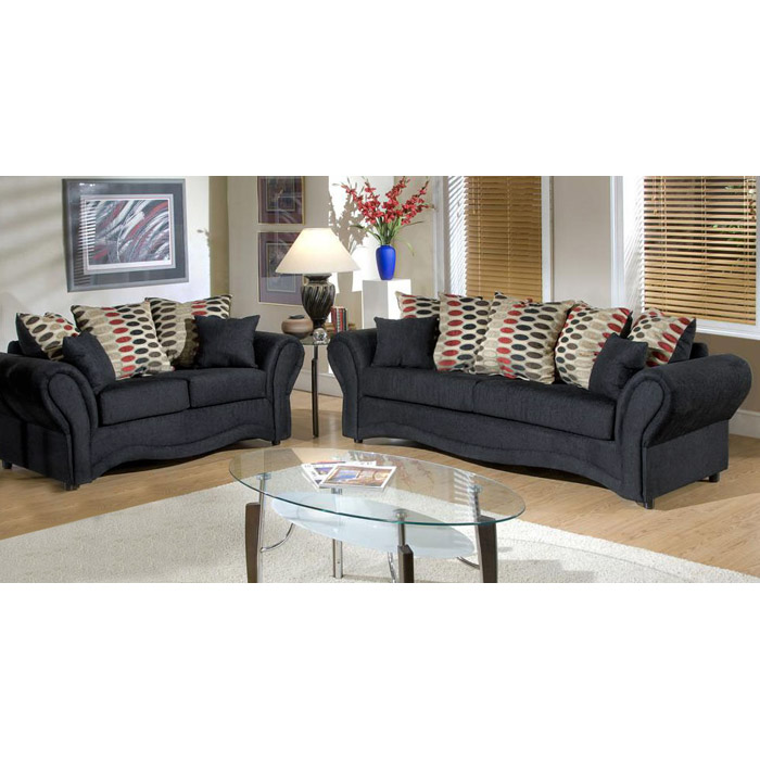 Jasmine Onyx Fabric Sofa with Accent Pillows - CHF-3200-S-LO