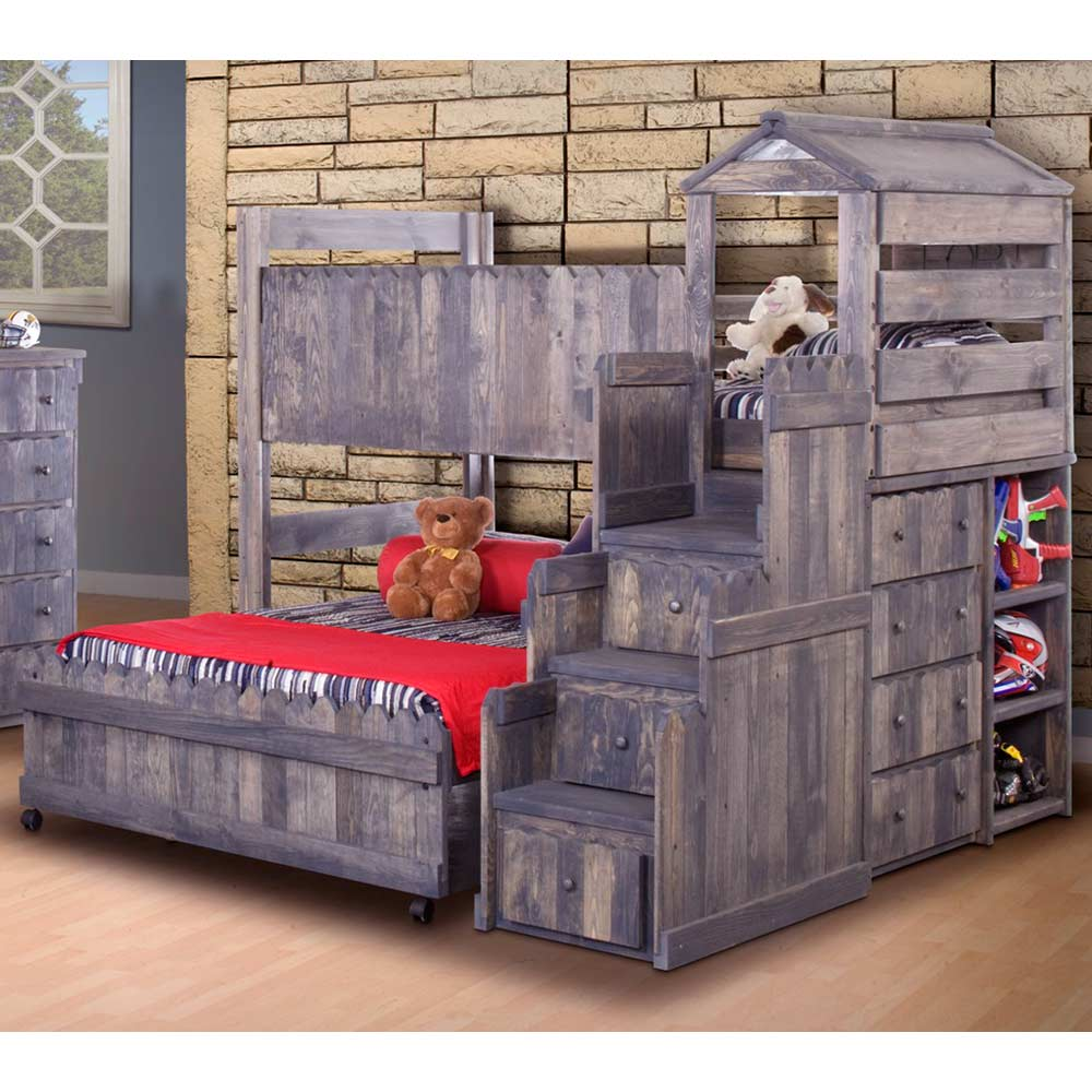 Twin Over Full Loft Bedroom Set   Staircase Drawers, Driftwood   DCG Stores