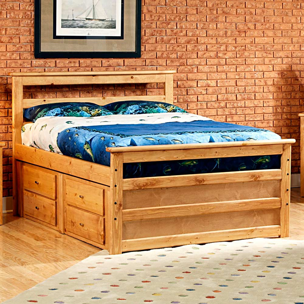 Full Wooden Storage Bed Horizontal Slats Caramel Finish Dcg Stores