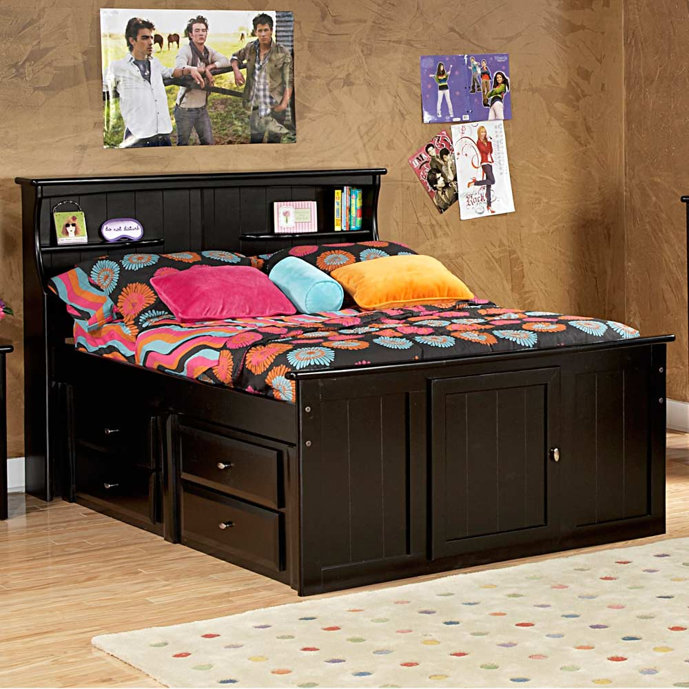 Full storage bed bookcase headboard black cherry dcg for Bookshelf bed headboard