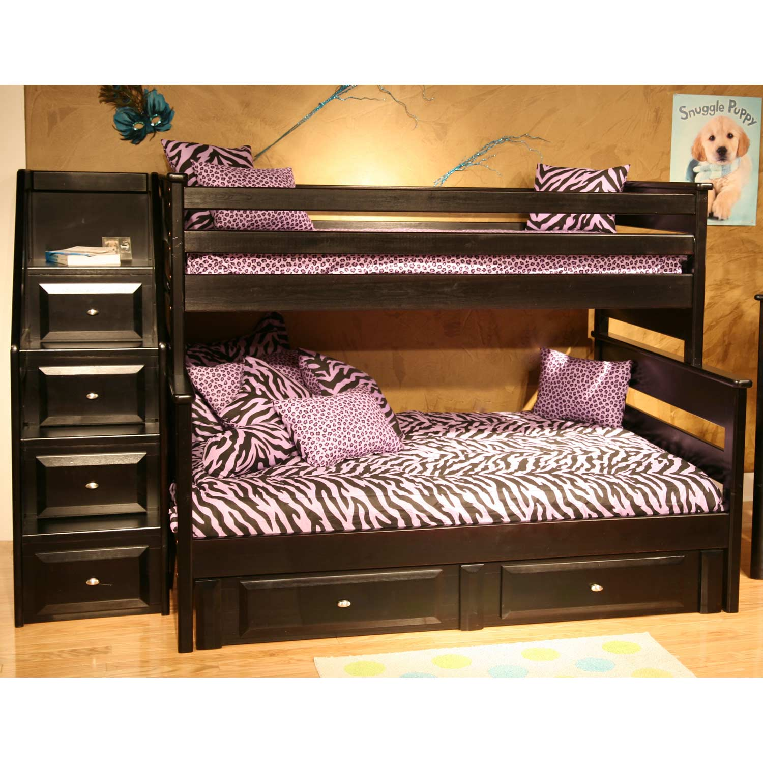 Twin Over Full Storage Bunk Bed Staircase Drawers Black