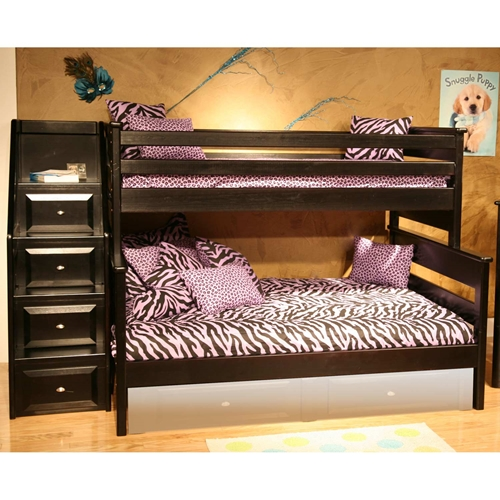 Twin Over Full Bunk Bed Staircase Drawers Black Cherry Dcg Stores
