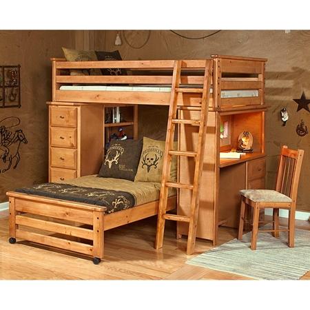 Twin Loft Bedroom Set Chest Desk Ladder Caramel Finish DCG
