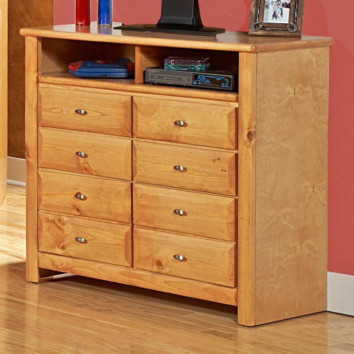 8-Drawer Media Chest - Oval Knobs, Caramel Finish - CHF-3534539-C