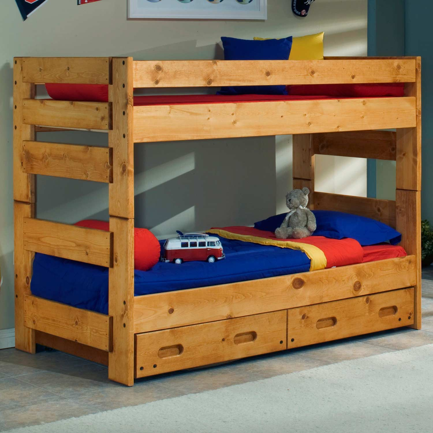 Twin Bunk Bed Trundle Unit Cinnamon Finish Dcg Stores