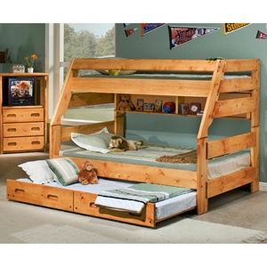 Twin Over Full Bunk Bed Trundle Unit Cinnamon Finish Dcg Stores