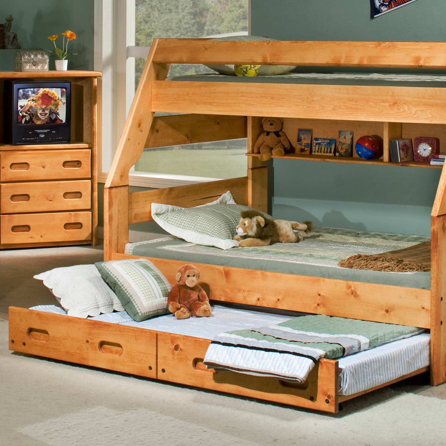 Twin Over Full Bunk Bed - Staircase, Trundle Unit, Cinnamon - CHF-3544720-4754-T