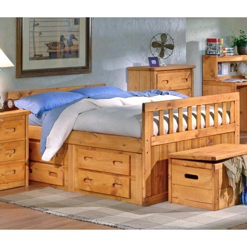 full storage bed under bed drawers cinnamon finish dcg stores. Black Bedroom Furniture Sets. Home Design Ideas