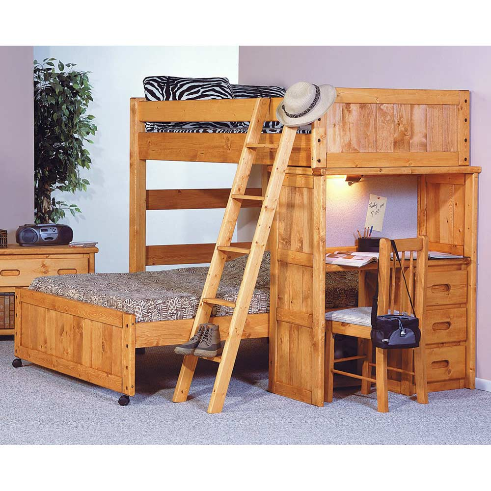 Twin Over Full Loft Bedroom Set Desk Ladder Cinnamon