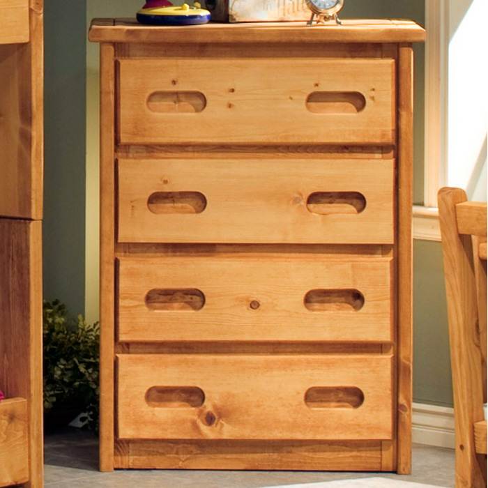 4 Drawer Chest Recessed Handles Cinnamon Finish Dcg