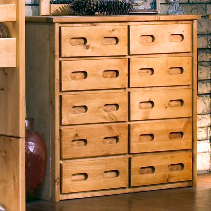 10 Drawer Tall Dresser Recessed Handles Cinnamon Finish