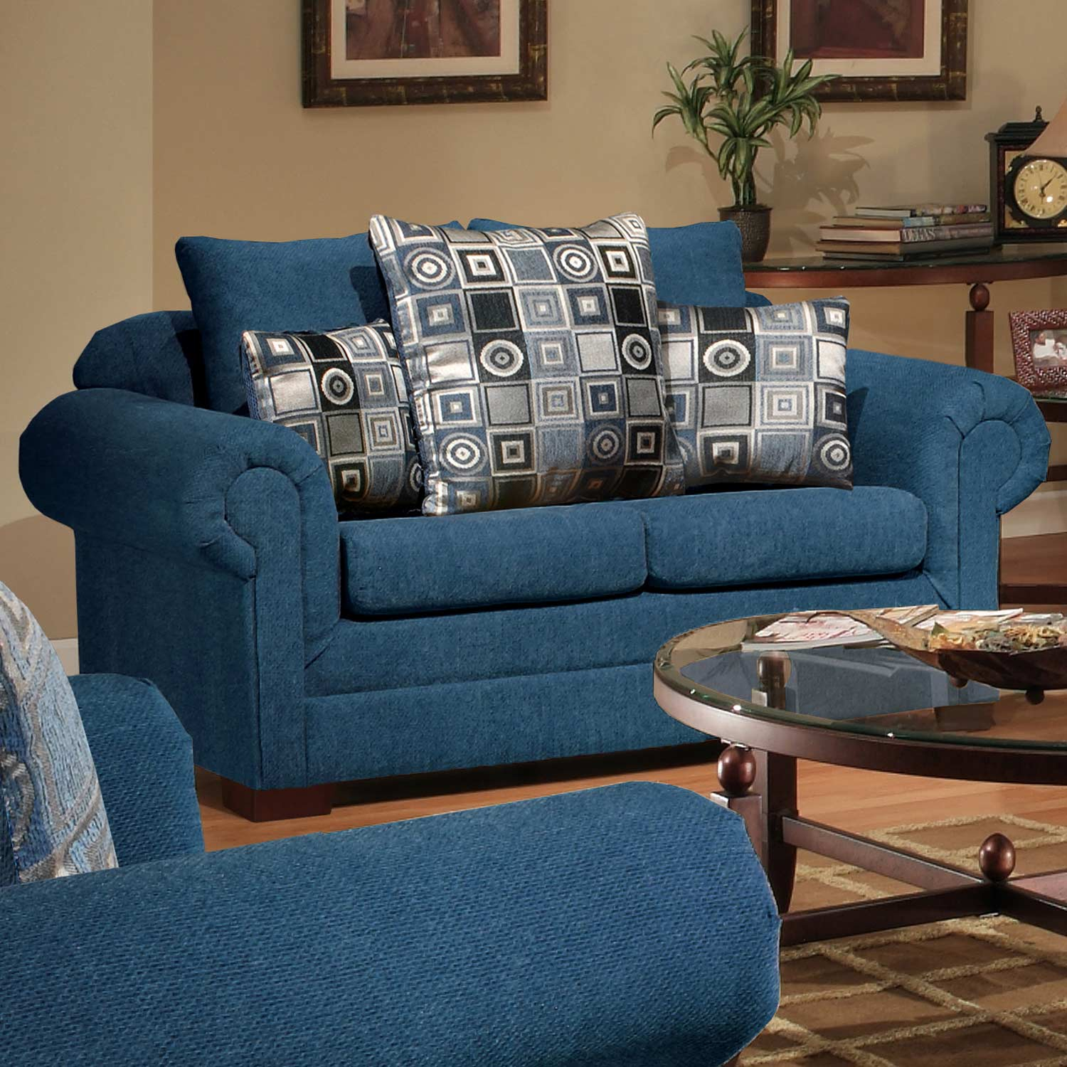 Marsha Loveseat - Rolled Arms, Tahoe Navy Fabric - CHF-3550-L