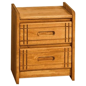 2-Drawer Nightstand - Grooved Details, Honey Finish