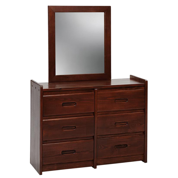 6 Drawer Wooden Dresser Amp Mirror Dark Brown Dcg Stores