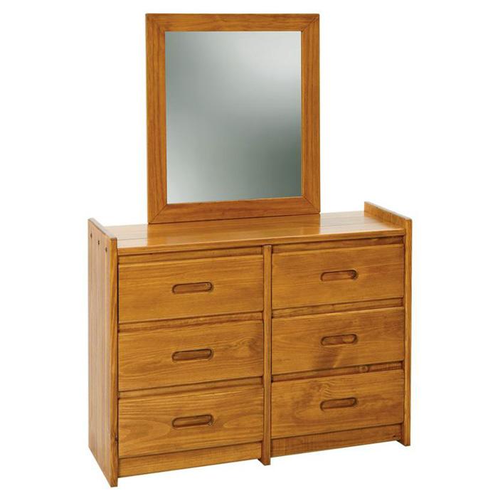 6 Drawer Wooden Dresser Amp Mirror Honey Finish Dcg Stores