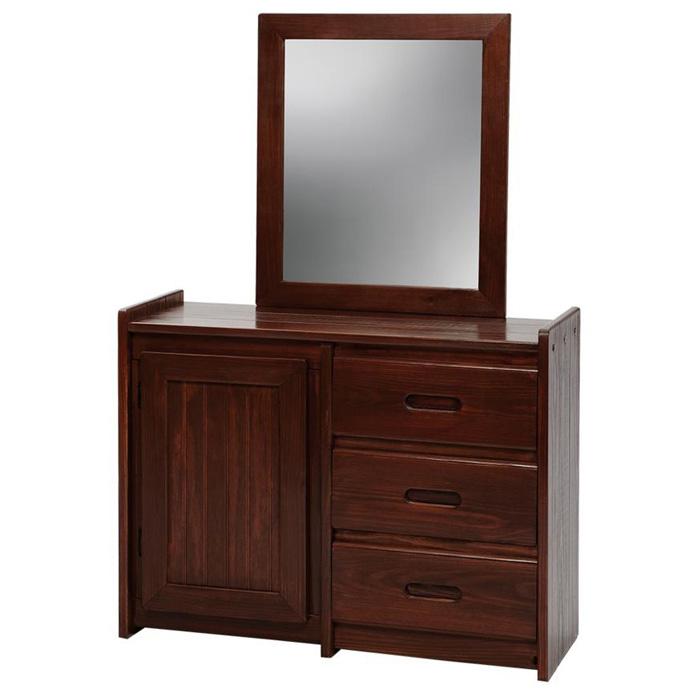 3 Drawer Wooden Dresser Amp Mirror Cabinet Dark Brown