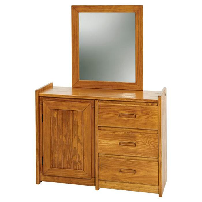 3 Drawer Wooden Dresser Amp Mirror Cabinet Honey Finish