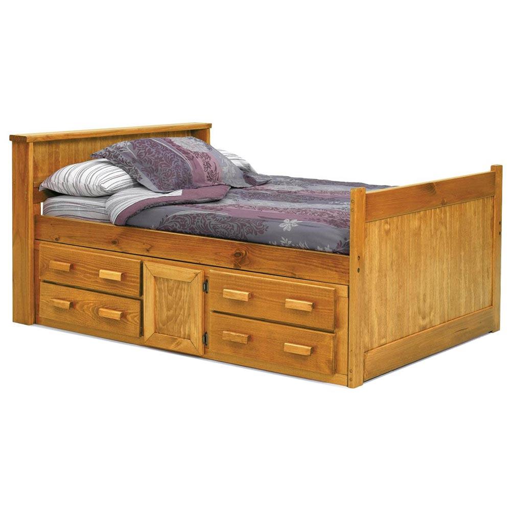 full captain 39 s bed under bed storage honey finish dcg stores. Black Bedroom Furniture Sets. Home Design Ideas