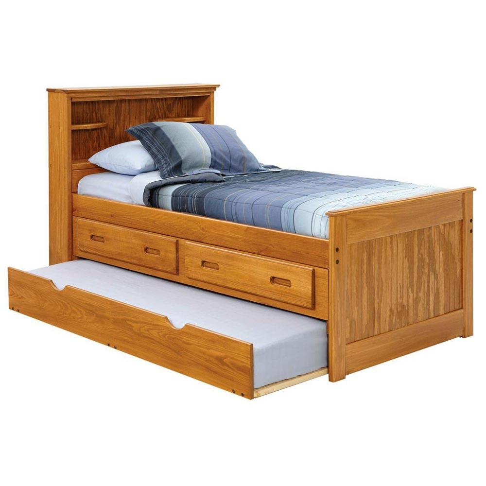 Twin Captain S Bed Bookcase Headboard Trundle Honey