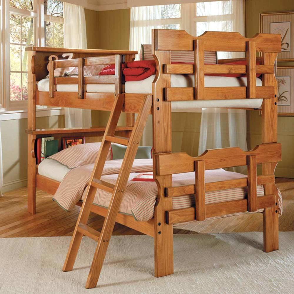 buy online 15c73 1b5d8 Twin Scalloped Bunk Bed - Bookcase Headboard, Ladder, Honey