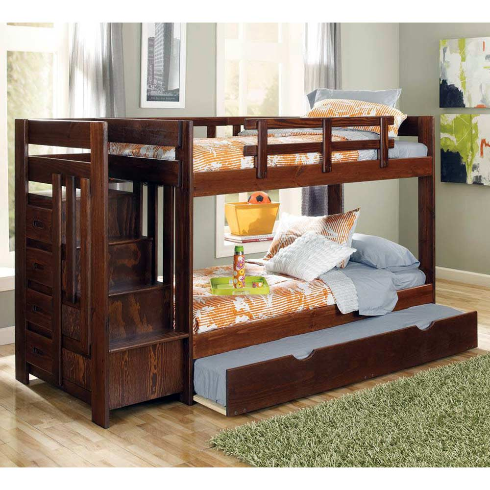 Twin Bunk Bed Reversible Staircase Trundle Dark Brown