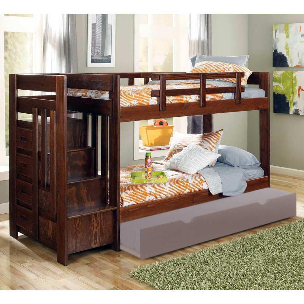 Twin Bunk Bed Reversible Staircase Dark Brown Finish