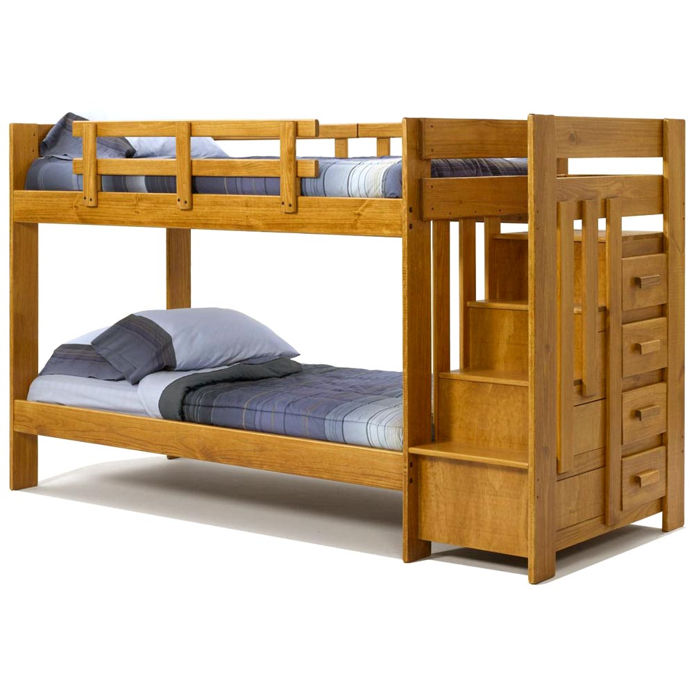 Twin bunk bed reversible staircase drawers honey for Reverse loft bed