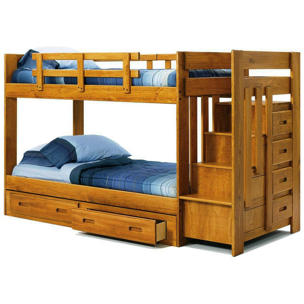 Twin bunk bed reversible staircase under bed storage for Reverse loft bed